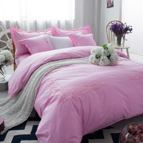 Embroidered lace duvet set (Light Pink)