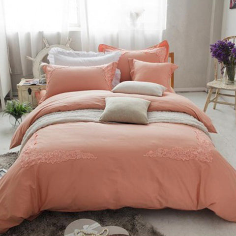 Embroidered lace duvet set (Peach)