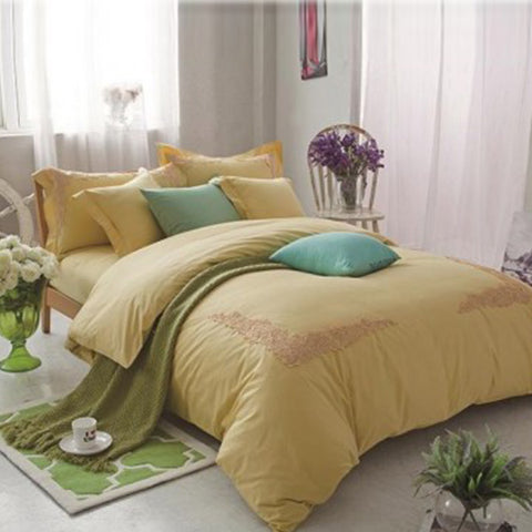 Embroidered lace duvet set (Yellow)