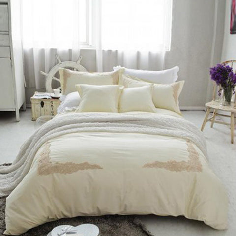 Embroidered lace duvet set (Cream)
