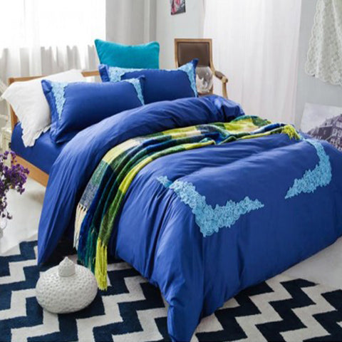 Embroidered lace duvet set (Navy Blue )