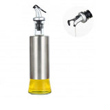 Oil Bottle for Kitchen Made of Glass with Steel Cover BODY Used for Cooking Oil and Vinegar Dispenser Bottles 300ml