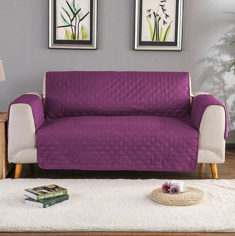 Purple Quilted sofa Protector