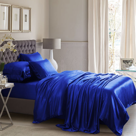 Royal Blue Silk Duvet Set