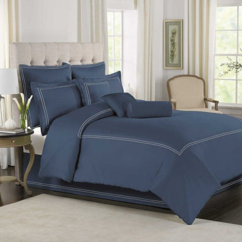 Slate Blue with White Baratta Stitch Duvet Set