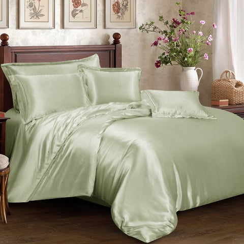 Sage Green Silk Duvet Set