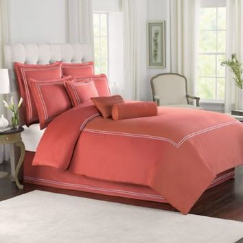 Red With White Baratta Stitch Duvet Set