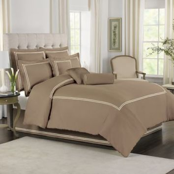Coffee Color With White Baratta Stitch Duvet Set