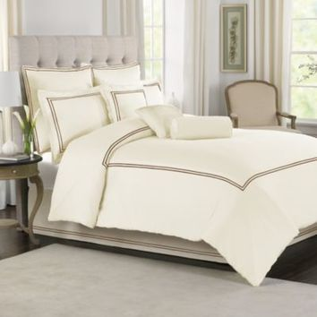 cream With Brown Baratta Stitch Duvet Set