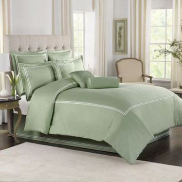 Olive With White Baratta Stitch Duvet Set
