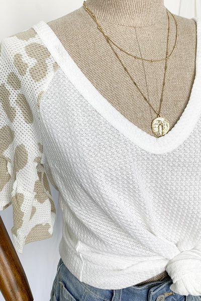 Cream Knit Shirt with Leopard Print Sleeves