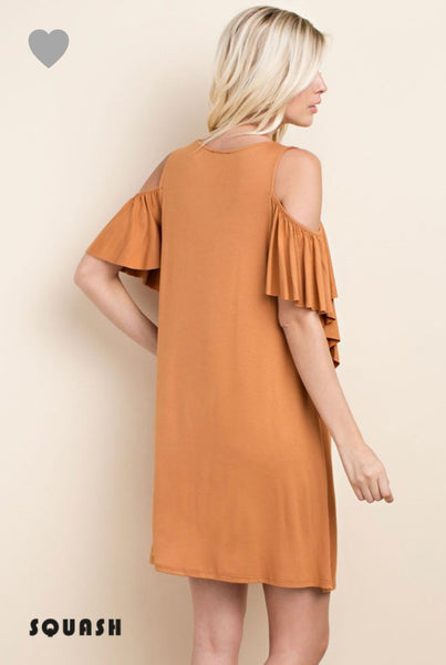 Ruffled Sleeved Opened-Shoulder Dress