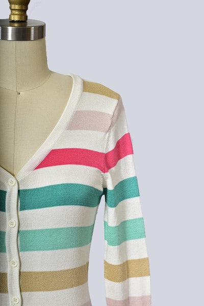 Multi color Stripe Long-sleeve Cardigan