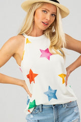 Multi Color Star Print Sleeveless Top
