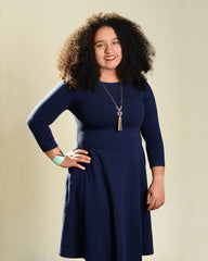 Navy A-Line Pocket Dress