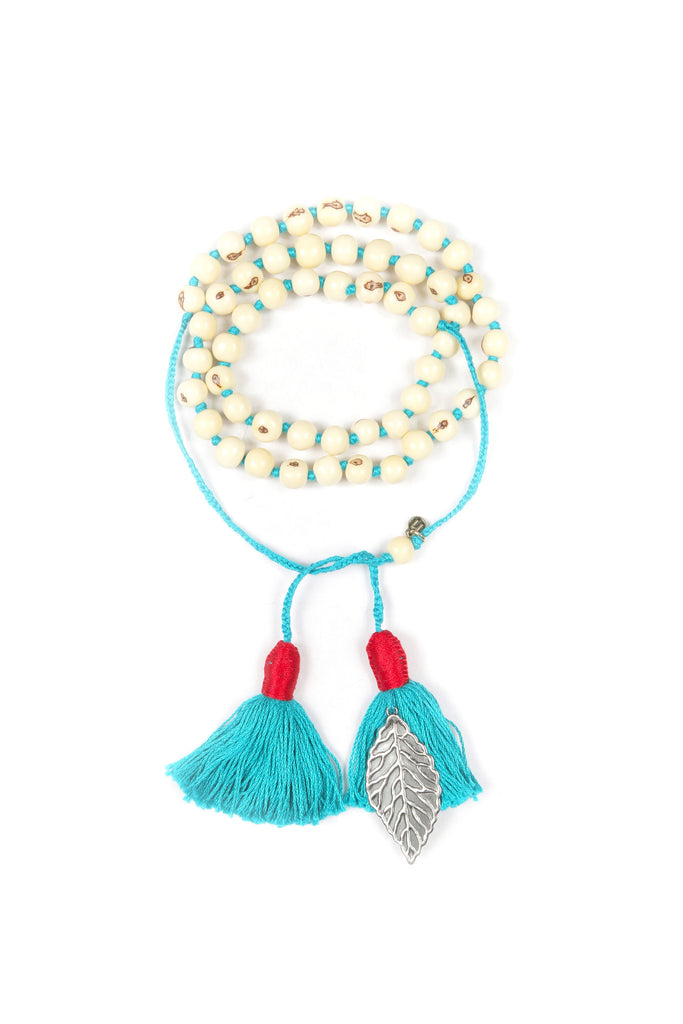 Mamapacha White with Turquoise tassel