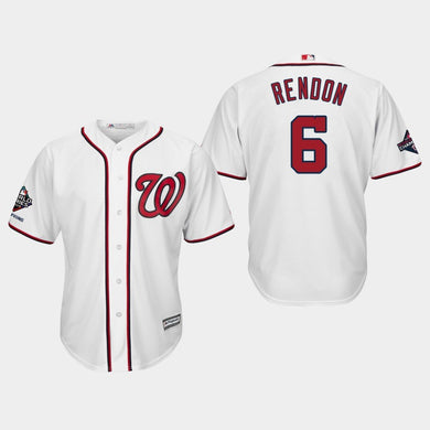 Men's Washington Nationals Anthony Rendon #6 2019 World Series Champions Cool Base Home White Jersey