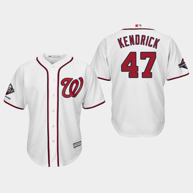 Men's Washington Nationals Howie Kendrick #47 2019 World Series Champions Cool Base Home White Jersey