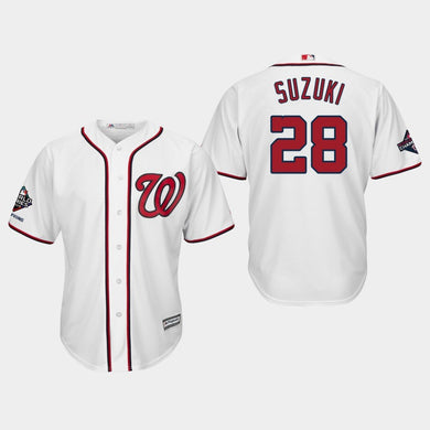 Men's Washington Nationals Kurt Suzuki #28 2019 World Series Champions Cool Base Home White Jersey