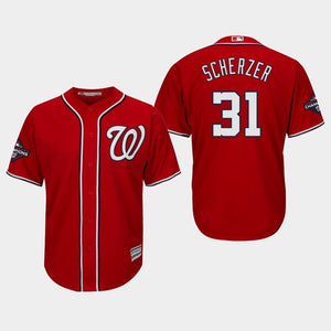 Men's Washington Nationals Max Scherzer #31 2019 World Series Champions Cool Base Alternate Red Jersey