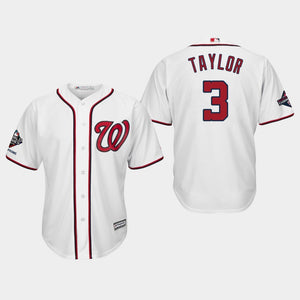 Men's Washington Nationals Michael Taylor #3 2019 World Series Champions Cool Base Home White Jersey