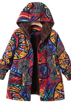 Printed Hooded Coats With Pockets