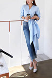 Casual V Neck Pure Colour Long Sleeve Shirt Blue one size