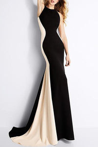 Crew Neck Color Block Mermaid Evening Dress black s