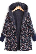 Casual Garden Floral Print Hooded Jacket