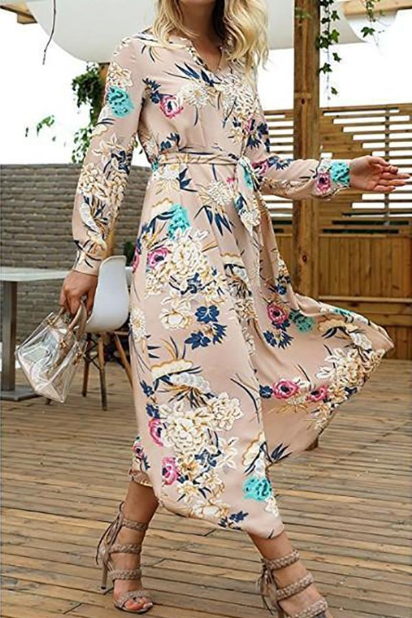 V-Neck Floral Long-Sleeved Dress khaki s
