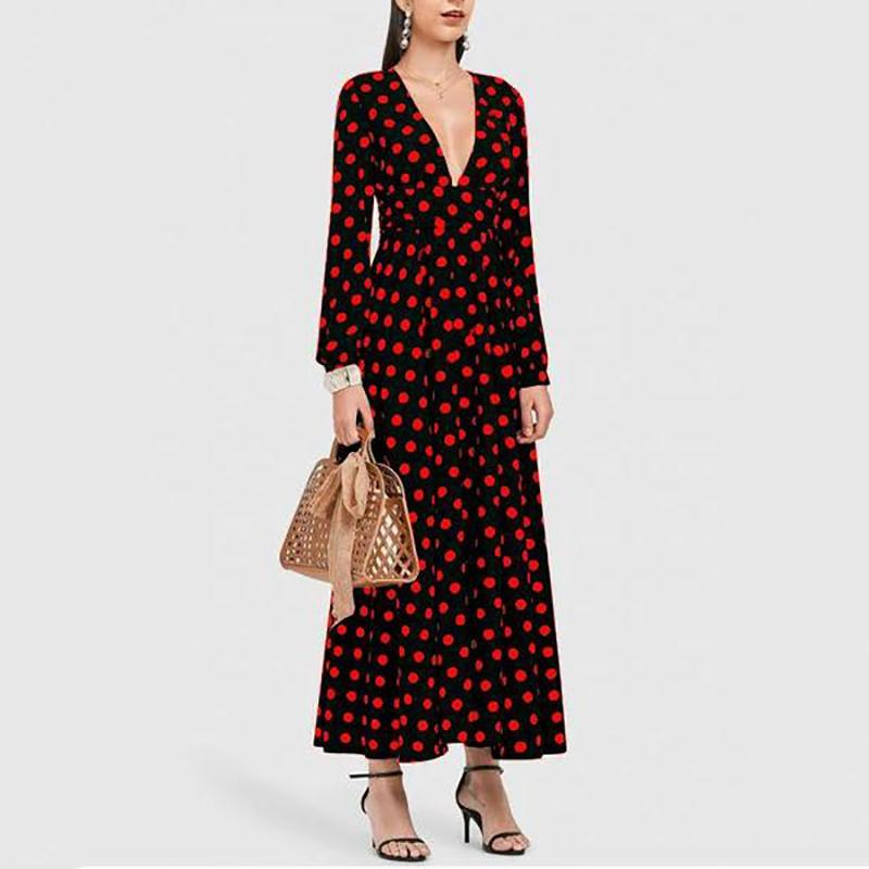 Sexy Deep V Collar Dot Defined Waist Maxi Dress red m