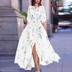 Turn Down Collar  Printed Maxi Dress white m