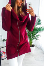 Casual Solid Color Zipper Long Hooded Fleece Jacket