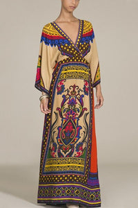 Bohemian Printed National Style Casual Dress apricot s