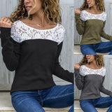 Round Neck  Lace Patchwork T-Shirts Black m