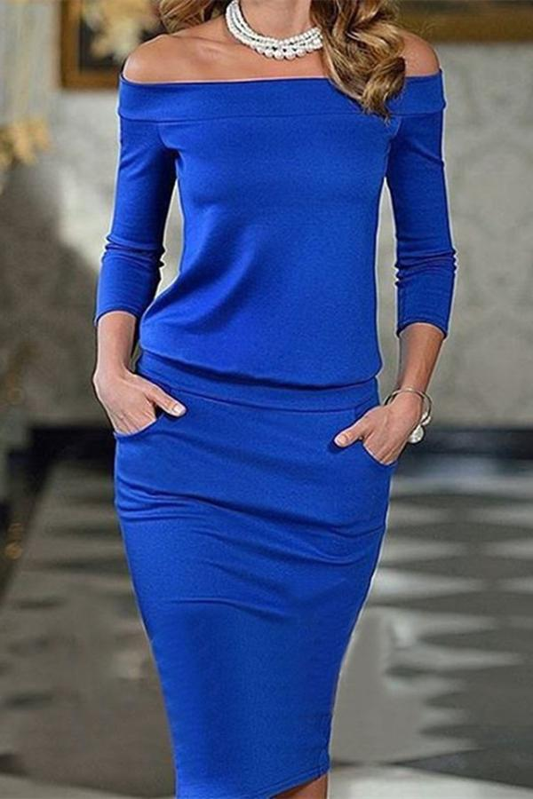 Sexy One Word Collar   Long Sleeve Bottom Maxi Dress Blue s