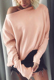 Winter Pure Color Fashion Warm Top pink s