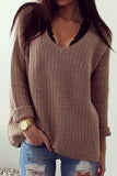 Retro Casual Popular Hollow V Neck Loose Long-Sleeved Sweater same_as_photo xl
