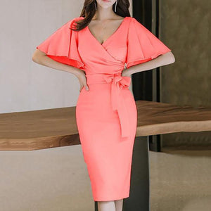 Surplice  Plain Bodycon Dress watermelon_red m