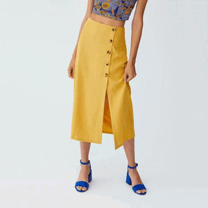 Fashion Slim Fit Button Slit Skirt yellow m