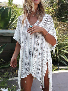 Loose Hollow Vacation Half Sleeve V Neck Beach Cover-Ups WHITE FREE SIZE