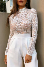 Sexy Lace Crochet High Collar Long Sleeve Shirt