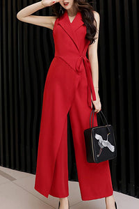 Fashion High-Waist V Neck Chiffon Pure Colour Jumpsuits Red m