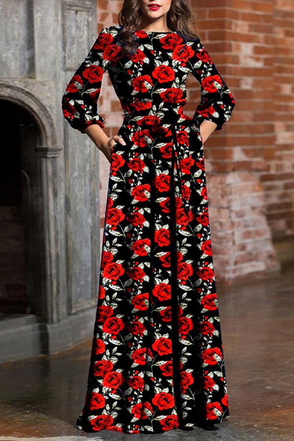 Fashion Round Neck Print Maxi Dress red s