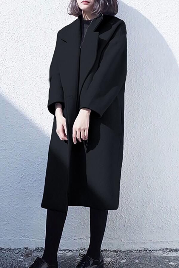 Winter Fashion Long Cashmere Coat With Belt black s