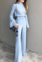 Fashion Pure Colour Half High Collar Blue Suit