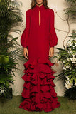 Flash Sale V-Neck Hubble-Bubble Sleeve Multilayer Ruffled Maxi Dress Red s