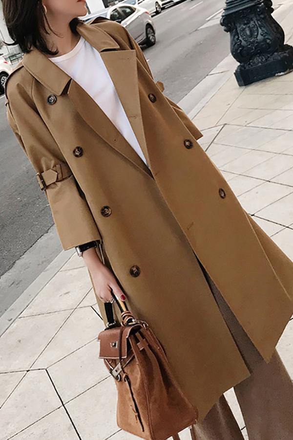 Fashion Bell Sleeve Pure Colour Over Knee Coat Khaki xs