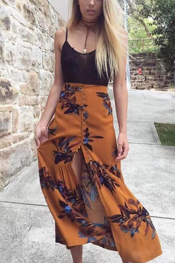 Fashion Floral Printed Slit Beach Maxi Skirt yellow s
