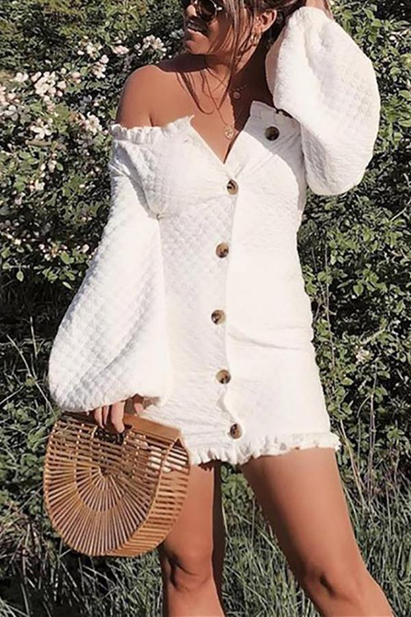 Sexy Off-The-Shoulder   Lantern Long Sleeve Mini Dress white s